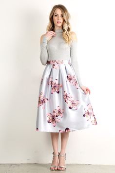 Blossom - Floral Print High Waisted A-Line Skirt