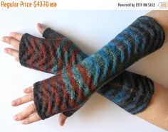 Fingerless Gloves Blue Brown Black Green wrist by Initasworks