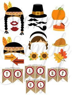 Thanksgiving 26 piece Photo Booth Props PRINTABLE Download