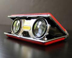 Vintage Red Compact Binoculars Opera Glasses by jillhannah