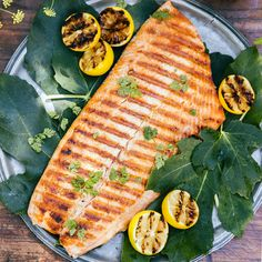 Grilled Salmon with Caramelized Lemons - Best Grilled Fish & Seafood - Sunset Grilled Fish Recipes, Healthy Grilling Recipes, Grilled Seafood, Grilled Salmon, Fish And Seafood, Healthy Meals, Tilapia Recipes, Grilling Tips, Healthy Food