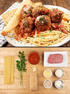 Spaghetti with Ricotta Meatballs  with pecorino garlic bread