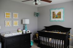 grey and teal baby nursery | Baby Room / Neutral Nursery-Grey, yellow and teal #nursery