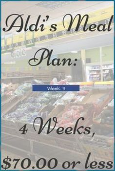 Aldi Meal Plan – includes a 7 day dinner menu and the grocery list you need to g… - Healthy meal prep on a budget Budget Family Meals, Cooking On A Budget, Frugal Meals, Cheap Meals, Freezer Meals, Budget Dinners, Weekly Dinners, Frugal Family, Freezer Cooking
