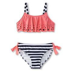 Girls' 2-Piece Star Bandeau and Striped Bottom B... : Target