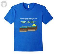 Mens Tectonic Plate - Earthquake Sorry My Fault Pun T-Shirt Large Royal Blue - Birthday shirts (*Amazon Partner-Link)