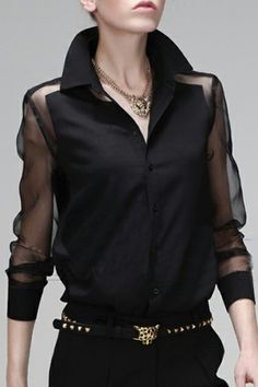 Mesh Panel Asymmetric Transparent Black Shirt, The Latest Street Fashion - total verliebt in diese Bluse, so elegant! Mesh Panel Asymmetric Transparent Black Shirt, The Latest Street Fashion - total verliebt in diese Bluse, so elegant! Fashion Mode, Latest Street Fashion, Look Fashion, Fashion Details, Trendy Fashion, Womens Fashion, Fashion Design, Fashion Black, Classy Fashion