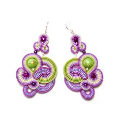 Soutache earrings purple violet green beige jewelry handmade shop gift for sale buy orecchini pendientes oorbellen Ohrringe brincos örhängen by SoutacheFlowOn on Etsy