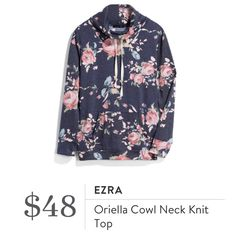 Cowl Neck Floral Sweatshirt (Plus Size) || Sign up to receive your personally sized and styled box from Stitch Fix for a $20 styling fee that credits toward your purchase by using my unique link (click this photo)!