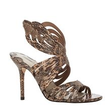 SAGA - SNAKESKIN HIGH HEELED SANDALS