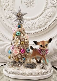 Ms Bingles Vintage Christmas: Bottle Brush trees are Here! Madonna statue tree and Rhinestone mermaids!