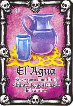 38 - El Agua Day Of Death, Mexican Designs, Mexican Folk Art, Skull And Bones, Deck Of Cards, Day Of The Dead, Kids Decor, Sugar Skulls, Ap Spanish