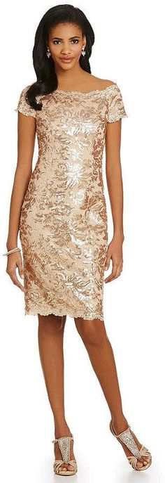 Boda - JS Collections Sequined Lace Off-the-Shoulder Sheath Dress