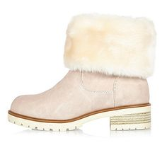 Light pink faux fur lined chunky boots - boots - shoes / boots - women
