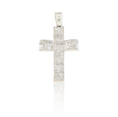 Cross+in+14Κ/18Κ,+in+white+gold.Dimensions:+width+16.51mm+x+height+30.69mm++