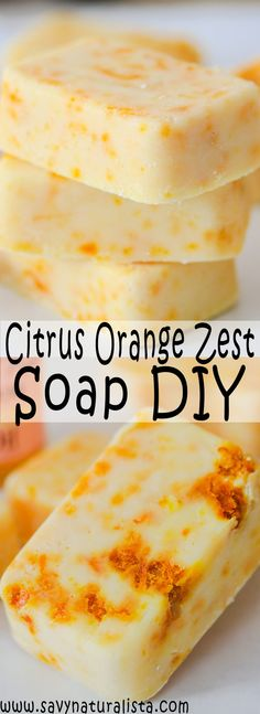Citrus Orange Zest Cold Process Soap is an easy beginner tutorial made with pure orange essential oils and orange zest to make this soap smell amazing, whip up in only 10 minutes! Homemade Scrub, Homemade Soap Recipes, Homemade Products, Bath Products, Skin Products, Diy Orange Soap, Zest Soap, Orange Essential Oil, Essential Oils