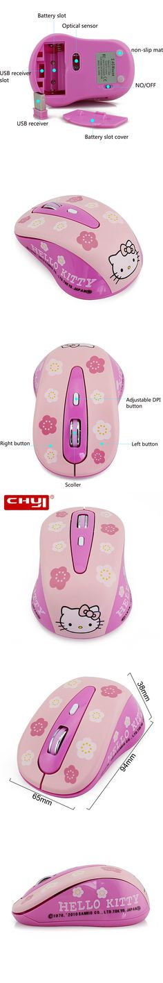 Wireless Mouse Hello Kitty Computer Mice 1600DPI Wireless Optical Mouse Mause Pink Hello Kitty Mute Button Mice for Girl Gifts
