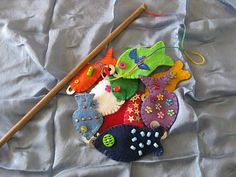 Felt fish with magnetic noses so you can fish for them using magnetic poles. Can be used to reinforce lots of skills, depending on how you decorate the fish.