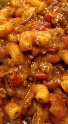 Chili Mac! This is the best I have EVER made! Jim loved it as well. I served Mexican Cornbread with ours.