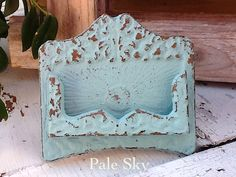 Business Card Holder - Rustic Cast Iron - Old Fashioned -Retro Vintage Inspired - Pale Sky - Aqua Blue -Turquoise Blue - Metal Decor - Desk. $18.00, via Etsy.