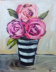 Roses Painting on canvas by DevinePaintings on Etsy