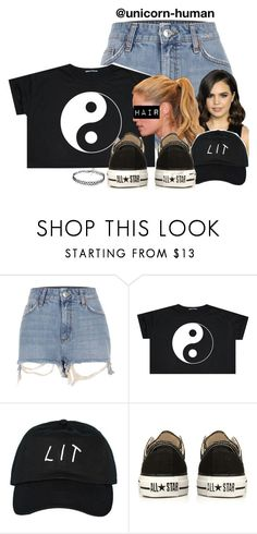 """Untitled #2894"" by unicorn-human ❤ liked on Polyvore featuring River Island, Champion, Converse and Forever 21"