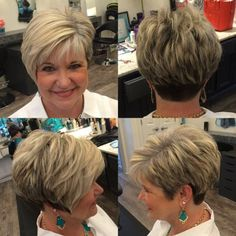 Bronde Layered Pixie For Older Women
