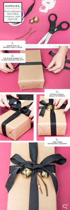 DIY Simple Black Bow Wrapping Idea | StyleCaster, 7 Days of Gift Wrapping Ideas | More ideas here: http://stylecaster.com/tag/gift-wrapping-ideas/