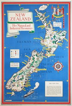 """michaelmoonsbookshop: """" michaelmoonsbookshop: """" New Zealand Her Natural and Industrial Resources Macdonald Gill 1943 One of a series of maps featuring the contribution made to the war effort by individual nations of the British Empire """" [Sold] """" Map Of New Zealand, New Zealand North, New Zealand Travel, Vintage Maps, Vintage Wall Art, Vintage Posters, George Macdonald, Back Home, Pictorial Maps"""