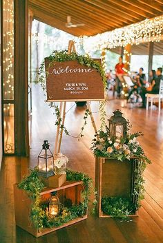 rustic wedding welcome sign ideas for reception entrance . rustic wedding welcome sign ideas for reception entrance . Diy Wedding Decorations, Reception Decorations, Wedding Centerpieces, Decor Wedding, Decorating Reception Hall, Reception Ideas, Lantern Centerpieces, Reception Signs, Wedding Lighting