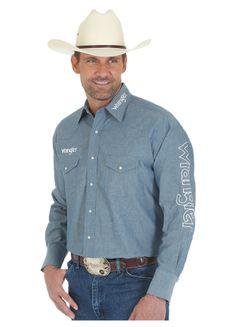 *Wrangler Chambray Solid Logo Shirt MP1278D, Lammle's Western Wear & Tack
