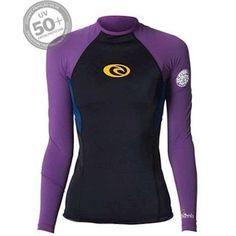 Camiseta de Lycra Rip Curl com 50 vezes mais proteção contra raios UV.  Composição  2a0f22a9fb397