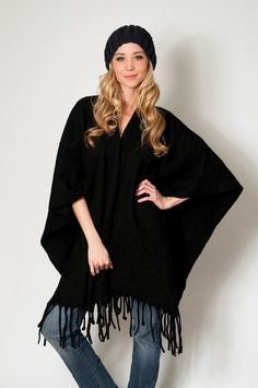 Boho Kimono Cape Knit Poncho wool felt Black western by texturable