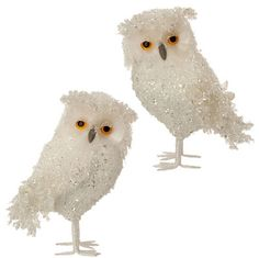 """RAZ Iced Owl Ornament Set of 2   Assorted Owl Ornament Set includes one of each White Made of Plastic and Polyfoam Measures 5.5""""  RAZ 2015 Enchanted Holiday Whimsy Collection"""