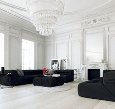 Parisian Apartment's Interior Design in White Walls, Simple Black Sofa and Enormous Spiral Chandelier