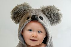 Snuggle baby after bath time in this adorable, personalized, baby koala bear, hooded bath towel. The super-plush towel is embellished with Hooded Bath Towels, Name Embroidery, Towel Crafts, Baby Towel, Personalized Baby, Baby Animals, Baby Gifts, Hoods, 18 Months