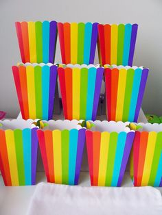 10 Rainbow striped party favour boxes  by SparkleandComfort