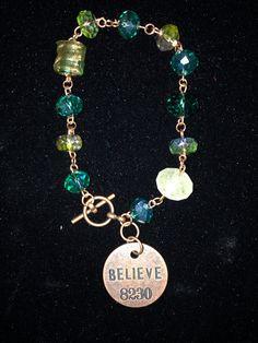 "Beaded ""Believe"" Charm Bracelet  on Etsy, $15.99"