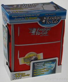 Mini Fridge To Go 12 Can All Day Cooler Red Food Beverage Shoulder Strap Lunch