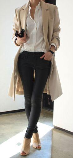 Women's Camel Coat, White Dress Shirt, Black Leather Skinny Jeans, Beige Cutout…