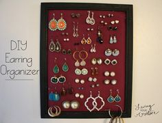 Make your own DIY earring organizer for $3.00 using supplies from the dollar store! Check out the tutorial at www.livingYOURcreative.com