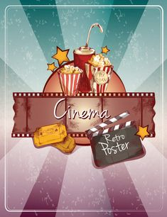 Buy Sketch Cinema Poster by macrovector on GraphicRiver. Colored cinema retro poster with popcorn drink cinema strip tickets doodle elements vector illustration. Illustration Sketches, Illustrations, English Class Activity Ideas, Hand Doodles, Banners, Retro Poster, Instagram Background, Movie Themes, Clip Art