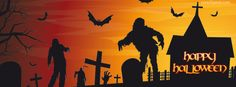Zombies Cemetery Bats Happy Halloween  Facebook Cover CoverLayout.com
