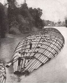 From an interior point on the Columbia River, Oregon. Pine logs in rafts 800 feet long and 52 feet wide are towed 1000 miles via the Pacific Ocean to San Diego, California where they are transformed into lumber.