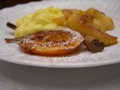 cinnamon and orange custard cream with apples and orange sauté