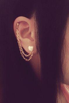 Pearl Heart Cartilage Chain Earrings! Yo qiuero (* spainsh for: I want)!