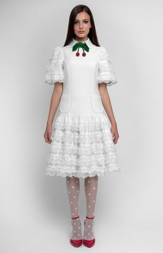 White low-waist lace-trim cotton dress. Turndown collar with a collar stand 783bf84a57d0