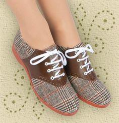 Aris Allen 1950s Women's Two-Tone Brown Plaid Saddle Shoes