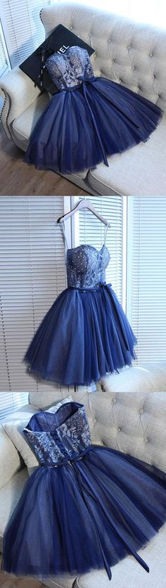 Blue sweetheart tulle lace short prom dress, homecoming dress, dark blue tulle cocktail dress