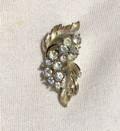 Rhinestone brooch2 Floral Motif, Vintage Brooches, Texture, Gold, Surface Finish, Yellow